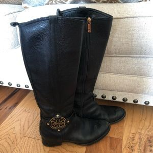 Tory Burch black leather logo boots size 8